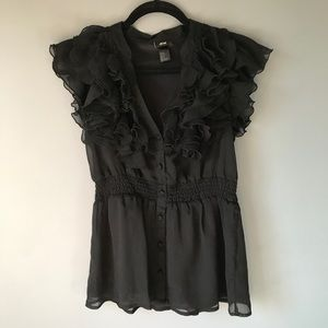 Frilly black H&M top